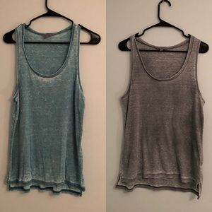 two Rubbish distressed flowy tank tops